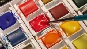 被设置的水彩绘画-学校艺术课 免版税库存图片