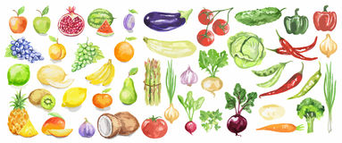 被设置的水彩水果和蔬菜 免版税库存图片