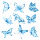 被设置的水彩蝴蝶 库存例证