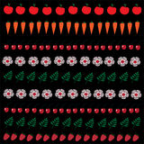 被设置的水果、蔬菜和花的例证 库存照片