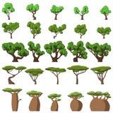 被设置的25棵动画片树 向量例证