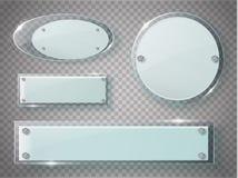 被设置的玻璃板 在透明背景的传染媒介丙烯酸酯的横幅 免版税库存图片