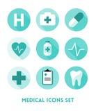 被设置的医疗保健和医疗平的象 库存照片