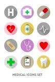 被设置的医疗保健和医疗平的象 库存图片