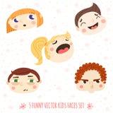 被设置的滑稽的动画片传染媒介孩子面孔 库存图片