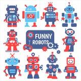 被设置的滑稽的机器人 免版税库存照片