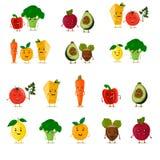 被设置的滑稽的果子 逗人喜爱的水果和蔬菜收藏 动画片食物字符 也corel凹道例证向量 查出在白色 免版税库存图片