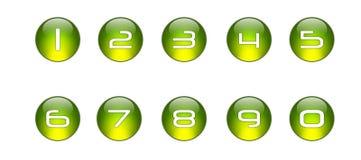 被设置的01个绿色图标编号 免版税库存照片