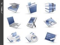 被设置的01个3d图标 免版税库存照片