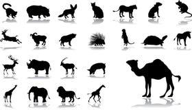 被设置的11个动物大图标 免版税库存图片