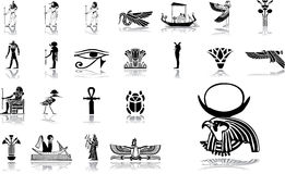 被设置的12个大埃及图标 图库摄影