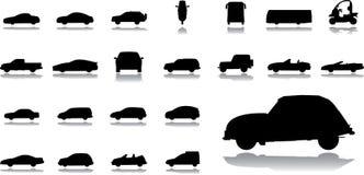 被设置的14个大汽车图标 免版税库存照片