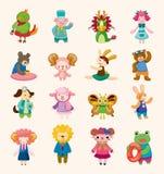 被设置的16个逗人喜爱的动物图标 图库摄影
