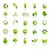 被设置的2 30个eco绿色图标 免版税库存照片