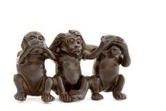 被设置的3只硬橡胶猴子 库存图片