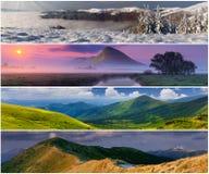 被设置的4个横向季节 免版税图库摄影