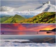 被设置的4个横向季节 库存照片