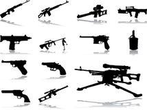 被设置的46个枪图标 库存图片