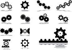 被设置的51个齿轮图标 库存例证