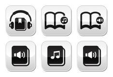 被设置的Audiobook按钮 库存图片