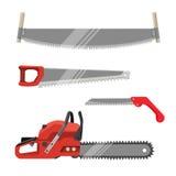 被设置的Axeman仪器 手锯为锯产品的木匠业工具 皇族释放例证