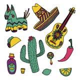 被设置的Cinco de马约角墨西哥例证 库存图片