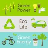 被设置的Eco力量对象五颜六色的网横幅 免版税库存图片