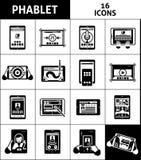 被设置的Phablet黑白色象 免版税库存图片