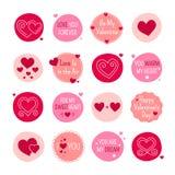 被设置的St情人节浪漫手拉的心脏和爱象 免版税图库摄影