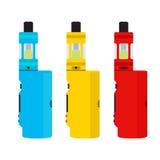 被设置的Vape设备 Vaping文化,抽烟 vaping的蒸气 平的设计 免版税库存图片