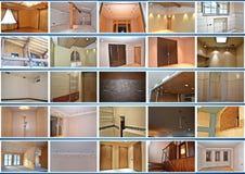 被设计的家庭内部居住的减速火箭的空间样式 拼贴画 库存照片