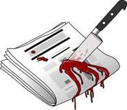 被谋杀的报纸 库存照片