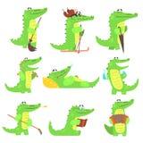被赋予人性的鳄鱼字符每天活动被设置例证 皇族释放例证