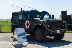 被转动的装甲车Mowag老鹰IV,救护车版本 免版税库存照片