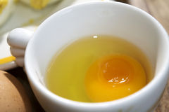 被轰击的白鸡蛋和卵黄质 图库摄影