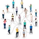 被连接的人社会网络通信 库存图片