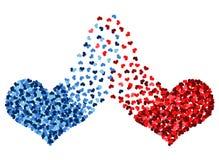 被连接的红色和蓝色心脏 库存照片