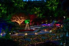 被迷惑的庭院彩色小灯在夜之前 图库摄影