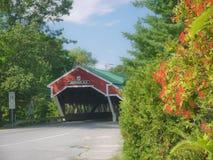 被遮盖的桥在杰克逊, NH 库存图片