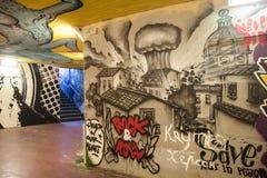 被采取的街道画意大利意大利米兰照片 免版税图库摄影
