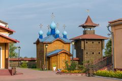 被重建的木城堡是其中一个主要地标在Mozyr,白俄罗斯 免版税库存照片