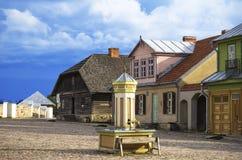 被重建的老立陶宛城市大广场,立陶宛, Rumsiskes的露天博物馆, 免版税库存图片