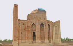被重建的Turabek-Khanym陵墓在古城Kunya乌尔根奇 库存照片