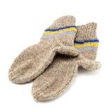 被钩编编织物的羊毛袜子 免版税库存照片
