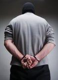 被锁定的大罪犯手铐 免版税库存照片