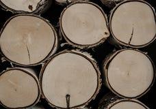 被锯的日志,桦树树干 被锯的和被堆积的木柴和日志 免版税库存照片