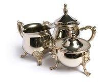 被镀铬的集合银色茶 免版税库存照片