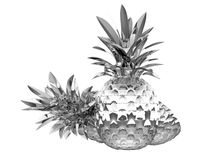 被镀铬的ananases查出反映 库存例证