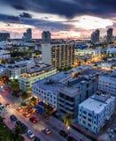 被阐明的海洋驱动和南海滩,迈阿密,佛罗里达,美国鸟瞰图  库存照片