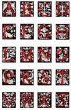 被阐明的第16个字母表世纪颜色 库存图片